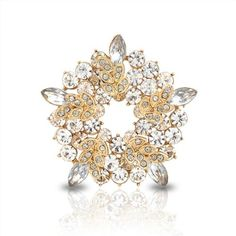 Bling #Jewelry Gold Plated Leaf #Brooch Clear Crystal Wreath Pin