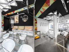 The designers chose a minimalist and transparent look exposing entire supply of the shop as well as get a sneak peek at sushi master at work through a glazed mezzanine. The colour scheme is inspired by the colours of traditional sushi rolls, black and white with a stripe of colourful triangles coherent with brand's visual identity.
