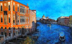 Shadows Grand Canal original Venice landscape painting | From a unique collection of landscape paintings at https://www.1stdibs.com/art/paintings/landscape-paintings/