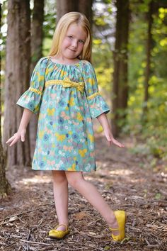 """""""Sew Classic"""" empire waist peasant dress is a softly gathered a-line shaped dress with a flattering scoop neckline. Such a sweet and comfortable Girls Frock Design, Kids Frocks Design, Baby Frocks Designs, Peasant Dress Patterns, Baby Girl Dress Patterns, Peasant Dresses, Girls Dresses Sewing, Little Girl Dresses, Fashion Kids"""