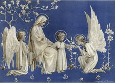 Christmas Card by Margaret W. Tarrant (1888-1959) English illustrator specializing in depictions of angels, children and religious subjects. Mary, Jesus mother, and Jesus and angels in this picture