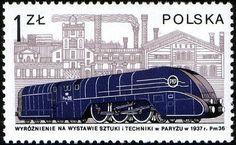 Stamp: and Cegielski factory, Poznan, 1937 (Poland) (Locomotives in Poland) Mi:PL 2398 Rail Transport, Trains, Stamp Collecting, Vintage Travel, Locomotive, Postage Stamps, Transportation, Art Photography, Steam Engine