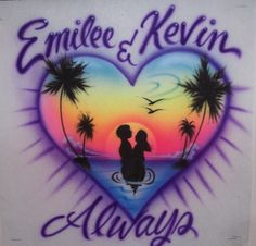Airbrushed t shirt  beach heart for couples. together forever personalized lovers airbrush t-shirt....LOL