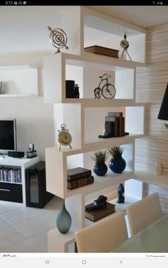 13 Best Simple Living Room Shelving Design Ideas For You - Home and Camper Living Room Partition Design, Room Partition Designs, Wood Partition, Partition Ideas, Deco Salon Design, Interior Design Living Room, Living Room Designs, Design Room, Wall Design