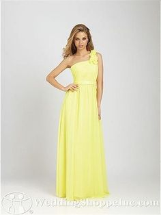 Shine Yellow One Shoulder with Ruffles Ribbon Chiffon Floor Length Bridesmaid Gown by Designers - Bridesmaid Dresses - Wedding Party Dresses Allure Bridesmaid Dresses, Yellow Bridesmaid Dresses, One Shoulder Bridesmaid Dresses, Colored Wedding Dresses, Prom Dresses, Dresses 2014, Shoulder Dress, Evening Dresses, Bridesmaid Color