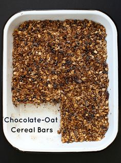Chocolate-Oat Cereal Bars - nut-free, no-bake, and the perfect travel snack.