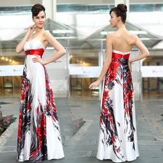 Free shipping HE09972WH Strapless Floral Printed Rhinestones beading Maxi evening dress 2014