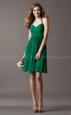 A-line V-neck,Halter Dark Green Chiffon Short/Mini Bridesmaid Dresses(UKBD03-763)