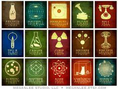 Megan Lee ha creado una magnífica galería de más de 50 «tarjetas icónicas» de científicos e inventores de todas las épocas.