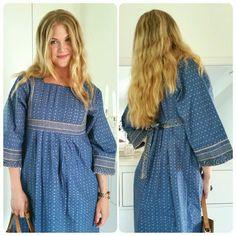 Marimekko vintage dress Mila 1969. Fabric Muija des Maija Isola. Jeans blue cotton sized 38 EU/ 10 UK / 12 US.