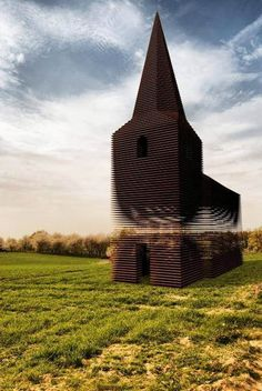 Amazing Transparent Church in Borgloon, BelgiumThe architect group, Gijs Van Vaerenbergh, built this church in Borgloon, Belgium. It doesn't look like anything special… from certain angles. Architecture Design, Church Architecture, Amazing Architecture, Landscape Architecture, 3d Modelle, Chapelle, Place Of Worship, Land Art, Kirchen