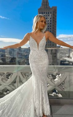 Sexy 3D Lace Wedding Dress with V-Neck and Beading - Martina Liana Wedding Dresses Vows Bridal, Bridal Suite, Bridal Gowns, Bridal Salon, Wedding Dress Styles, Designer Wedding Dresses, Wedding Outfits, Martina Liana, Wedding Dress Boutiques