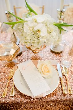 place setting inspired by rose gold #weddinginspiration #weddingreception #weddingchicks http://www.weddingchicks.com/2014/02/19/glamorous-rose-gold-wedding/