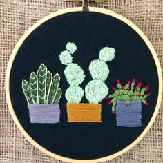"""New listing! Sweet 4"""" hand embroidered cactus cactus succulents plants in pots embroidery hoop. Hoop art, fiber art, modern embroidery, wall art, handmade in Winnipeg, MB Canada"""