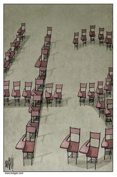 43 MISSING STUDENTS   Nov/25/24 Angel Boligan - El Universal, Mexico City, www.caglecartoons.com - Faltan 43 /  - ayotzinapa, 43, estudiantes, desaparecidos, pupitres, escuela, mexico, violencia,