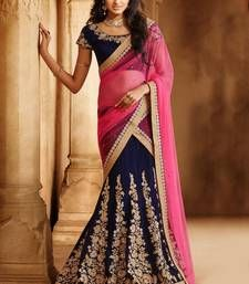 Buy PINK embroidered PURE MICRO VELVET unstitched bollywood-lehengas bollywood-lehenga online