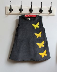 Diy Crafts - Dress years yellow velvet and yellow butterflies: Fashion girls by heliecreative butterflies DRESS fashion GIRLS heliecreativ Fashion Kids, Toddler Fashion, Fashion Design, Baby Outfits, Little Girl Dresses, Kids Outfits, Baby Dress Design, Frock Design, Tween Mode