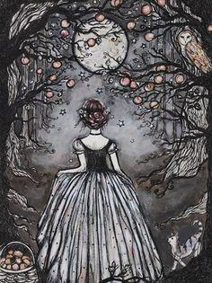 Midnight Peach by Art by Lady Viktoria on Etsy Art Et Illustration, Illustrations, Images Lindas, Witch Art, Wow Art, Dark Art, Oeuvre D'art, Magick, Art Inspo