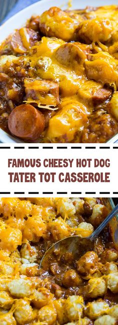 This Cheesy Hot Dog Tater Tot Casserole is pure comfort food. Sliced hot dogs, chili, tater tots, and cheddar cheese combine to make an easy. Hot Dog Casserole, Casserole Dishes, Casserole Recipes, Easy Tater Tot Casserole, Tatertot Casserole Recipe, Cheesy Tater Tots, Chili Casserole, Chilli Hot Dog, Chilli Cheese Dogs