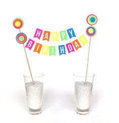 Rainbow Birthday Cake Banner Cake Topper HAPPY BIRTHDAY 1400