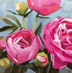 "Daily Paintworks - ""Pink Peonies"" - Original Fine Art for Sale - © Teddi Parker"