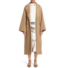 Women's Loewe Double Face Cashmere & Wool Coat ($2,450) ❤ liked on Polyvore featuring outerwear, coats, camel, loewe, tie belt, camel coat, leather-sleeve coats and beige coat