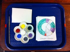 A 1/4page sized liturgical calendar painting exercise offers children another way to explore the liturgical calendar. The small palette includes a tiny jar of water which the child replenishes when restoring the work.