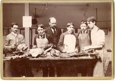 """MEDICAL. Cadaver Dissection. Ca. 1890 Cabinet card photograph (5"""" x 7""""), Strong view of students undergoing a medical dissection."""