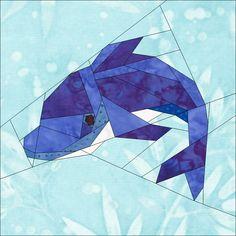 """Dolphin 10"""" (25cm) Paper pieced block quiltartdesigns.blogspot.com"""