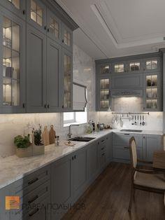 Фото: Дизайн кухни - Интерьер загородного дома в стиле американской неоклассики, п. Токсово, 215 кв.м.