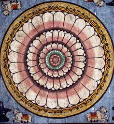 A mandala on a wall inside the Meenakshi Hindu temple in Madurai.