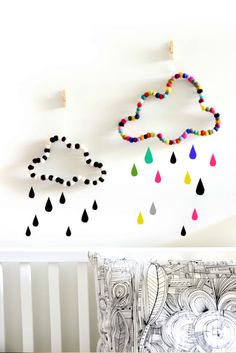 Cloud wall decor. Nursery decor. Kids room decor. Babies room. Black and white decor. Children homewares. Wall art decorations. Felt balls