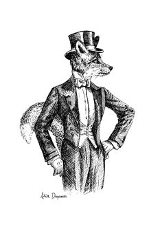 The dandy fox. Dip pen and ink on paper. By Alice Drapanaski, via Behance.