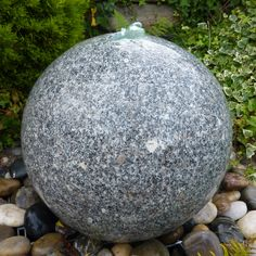 Garden Water Feature  Grey Granite 60cm Polished Sphere. Buy now at http://www.statuesandsculptures.co.uk/grey-granite-60cm-polished-sphere-garden-water-feature
