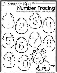 Dinosaur Worksheets for Preschool - Number Tracing #dinosaurworksheets #preschoolworksheets #preschool #dinosaurs #numberworksheets