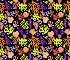 Black yellow coral mix by pattern_house #pattern #design #love #flowers #floral #nature #surfacedesign #textiledesign #patterndesign