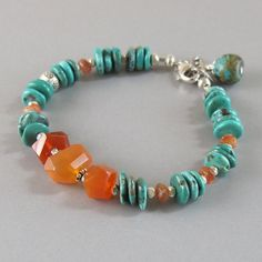 Sunstone Natural Turquoise Carnelian Sterling Silver Bead Bracelet DJStrang Boho Southwestern Cottage Chic Green Orange