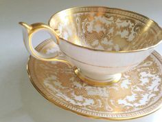 Aynsley Tea Cup and Saucer Gold Tea Cup Hand by AprilsLuxuries