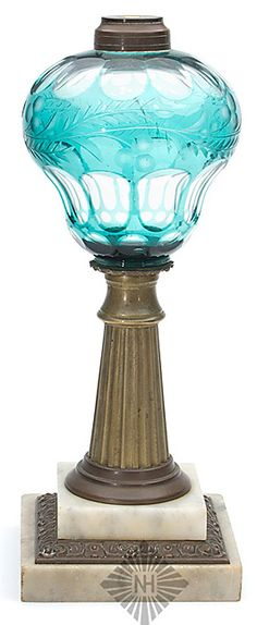 A cut overlay and engraved lamp, possibly Boston & Sandwich Glass Works, Massachusetts, bulbous font with reeded brass standard and marble base, light bluish green, cut to clear, America, circa 1860-1880