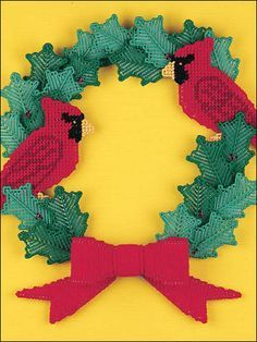 Plastic Canvas - Christmas Patterns - Cardinal Holly Wreath                                                                                                                                                                                 More