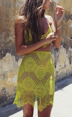 Yellow lace bikini and skirt Look Fashion, Fashion Beauty, Womens Fashion, Fashion 2018, Looks Street Style, Yellow Lace, Yellow Dress, Chartreuse Dress, Yellow Suit
