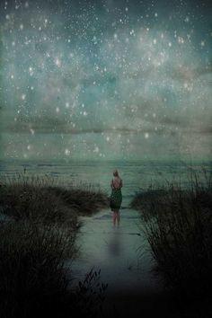 Stars Over the Ocean . surreal ocean art . night by joystclaire