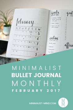 Looking for Minimalist Bullet Journal Monthly inspiration? Let me show you my monthly setup for February + my favorite lists and trackers!