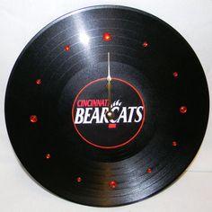 Cincinnati Bearcats, University Of Cincinnati, Magic Names, Record Wall, Vinyl Records, Clock, Etsy, Watch, Clocks