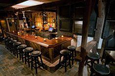 dark wood and bar