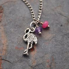 Pink Flamingo Necklace by wildharegems4 on Etsy, $16.50
