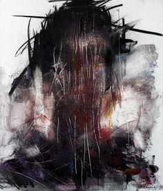 untitled oil  charcoal  on panel by KwangHo Shin, via Behance