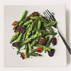 Smoky Asparagus and Mushroom Saute - this recipe uses morel mushrooms, the essence of spring -- but if you can't find them, other mushrooms will work just as well. Use nitrate-free turkey bacon. Saute in olive oil for Phase 3, or broth for Phase 2.