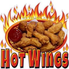 "14"" Hot Wings Concession Trailer Restaurant Food Truck Vinyl Sticker Menu Decal #SolidVisionStudio"