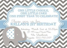 Elephant Birthday Party, Grey & Blue Chevron, First Birthday, Baby Boy